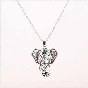 Silver & Teal Colored Elephant Pendant Necklace